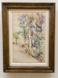 translation not available – Paul Cézanne, Route avec arbres sur une pente um 1904. Aquarell und Bleistift auf Papier. Sammlung Beyeler