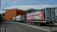 General view of the trucks at the Lyon Biennale
