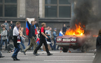 MASES. Moscow, 22 June 2002. After Russia was defeated by Japan at the World Cup, furious hoolingans seize the streets